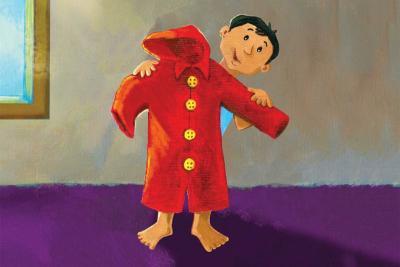 Chiếc áo mưa đo đỏ