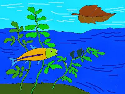 Thuyền lá và những chú cá con