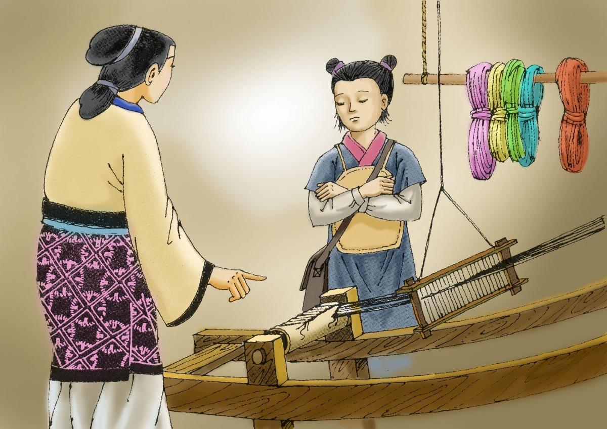 Truyện thai giáo: Mẹ Mạnh Tử cắt vải dạy con