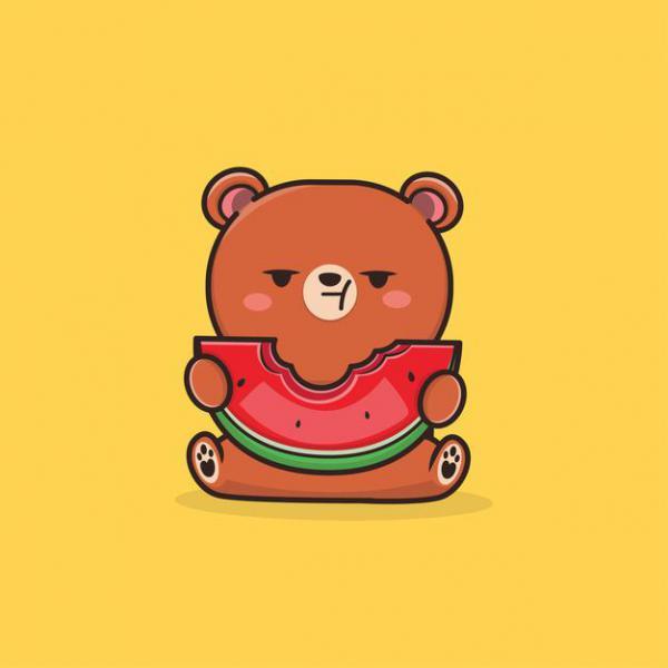 Gấu con trồng dưa