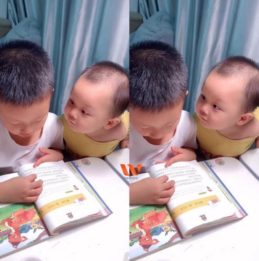 [GÓC CUTE] LÀM SAO CÓ THỂ CƯỠNG LẠI ÁNH MẮT NÀY CƠ CHỨ?  Anh trai đang bận học bài, em trai đứng kế bên cứ dùng ánh mắt 🥺 nhìn chằm chằm mong được anh trai để ý tới.  Trời ơi quay sang hun thằng nhỏ cái đi, tui nhìn mà sốt ruột giùm luôn á 🤣