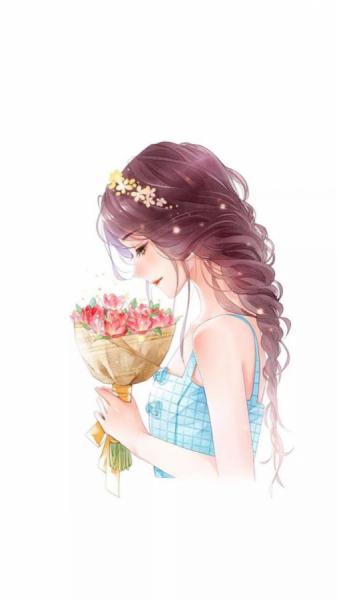 Cô gái tặng hoa